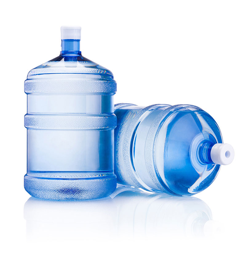 two large bottles of water